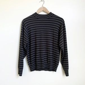 Vintage Boxy Striped Mock Neck Pullover